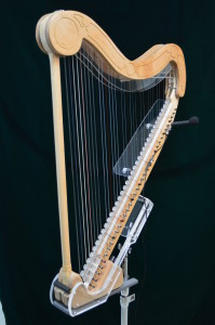 Harp with arm rest and mini mic
