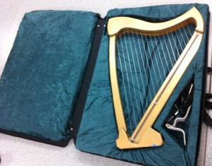 harp case, zippered and open